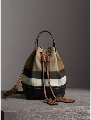Free Standard Shipping At Burberry Small Canvas Check And Leather Bucket Bag