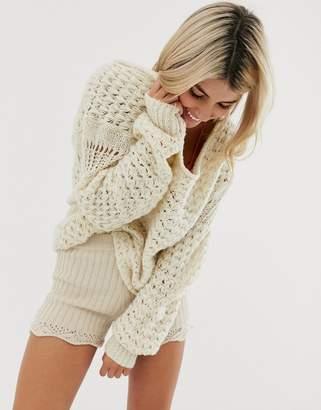 Free People Crashin Waves chunky loose knit sweater in wool blend