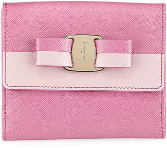 Salvatore Ferragamo Two-Tone Vara-Bow Clip Wallet, Pink