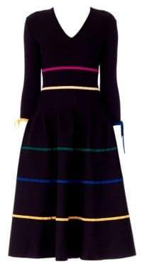 Carolina Herrera Satin Stripe Bow Knit Wool A-Line Dress