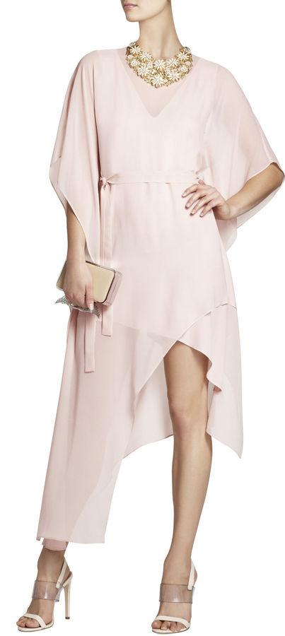 BCBGMAXAZRIA Suzy Draped Asymmetrical Silk Dress