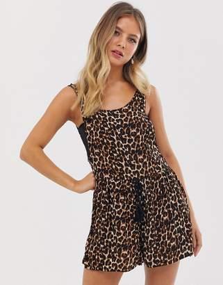 Brave Soul playsuit in leopard print