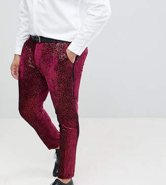 Asos Edition EDITION Plus super skinny tuxedo suit pants in allover burgundy sequin