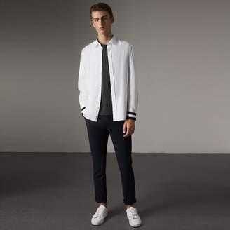 Burberry Striped Cuff Stretch Cotton Shirt