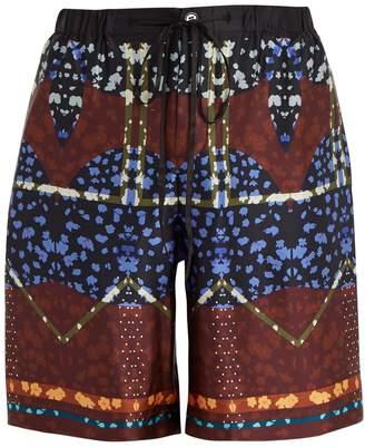 MENG Drawstring-waist silk-satin pyjama shorts