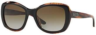 Ralph Lauren RL8132 Square Framed Polarised Sunglasses, Black/Brown