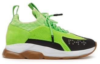 Versace Cross Chainer Mesh And Suede Trainers - Mens - Green White