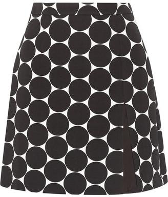 Michael Kors Collection - Polka-dot Cotton And Silk-blend Matelassé Mini Skirt - Black $595 thestylecure.com