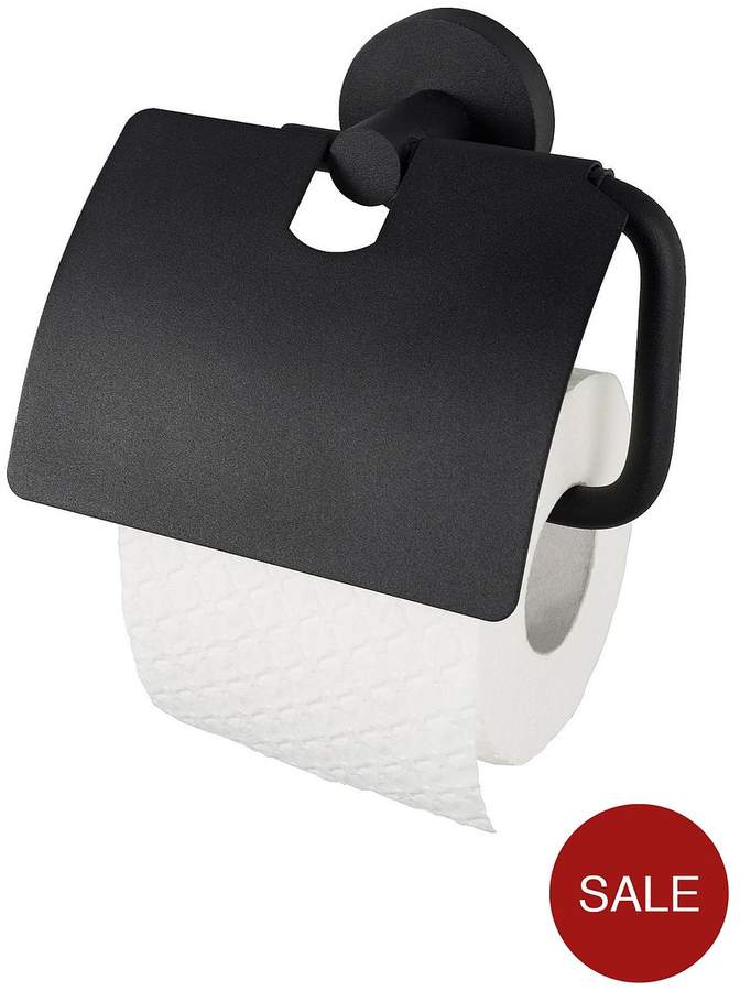 Haceka Kosmos Toilet Roll Holder With Lid - Black