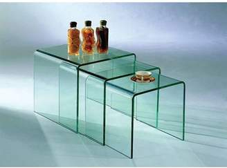 3 Piece Piper Bent Glass Nesting Tables Set
