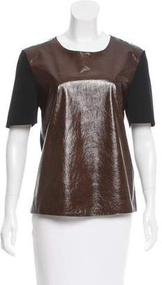 Calvin Klein Collection Two-Tone Leather-Paneled Top w/ Tags
