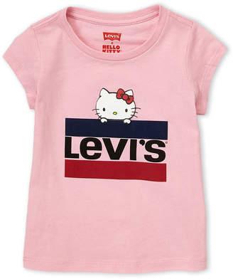 Levi's Toddler Girls) Hello Kitty Logo Short Sleeve Tee