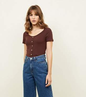New Look Dark Brown Button Through Ribbed T-Shirt