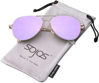 clear SojoS Classic Aviator Flat Lens Sunglasses Metal Frame with Spring Hinges SJ1030 With Gold Frame/Brown Mirrored Lens