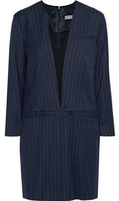 Sandro Enola Lace-Paneled Pinstriped Wool-Blend Twill Mini Dress