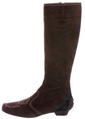 Tod's Embroidered Suede Boots