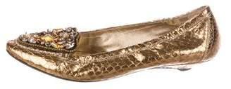 Prada Snakeskin Embellished Loafers