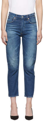 Citizens of Humanity Blue Charlotte Crop High-Rise Jeans