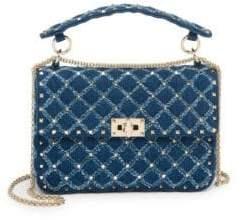 Valentino Medium Rockstud Spike Denim Shoulder Bag
