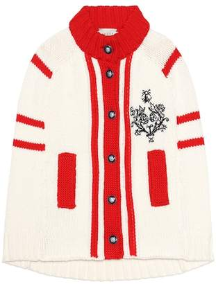 Gucci Kids Embroidered wool cape