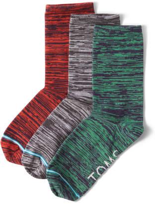 Toms 3 Pack Melange Woven Womens Crew Socks
