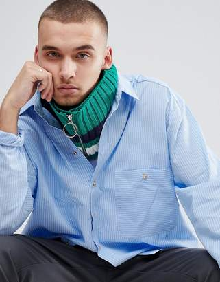 Asos Knitted Snood In Green With Stripe And Ring Zip Pull