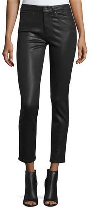 Paige Denim Hoxton Luxe-Coated Skinny Ankle Jeans, Black Fog $219 thestylecure.com