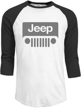 Wrangler JuJuhk Jeep Grey Logo On A Black Mens 3/4 Sleeve T-Shirts Raglan Tee Shirts