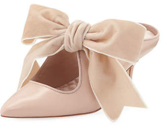 Tory Burch Clara Leather Mules with Velvet Bow