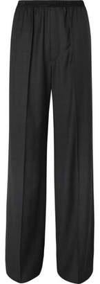 Balenciaga Wide-leg Checked Virgin Wool Trousers - Dark gray
