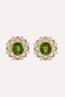 Buccellati 18-karat Yellow And White Gold, Peridot And Diamond Earrings