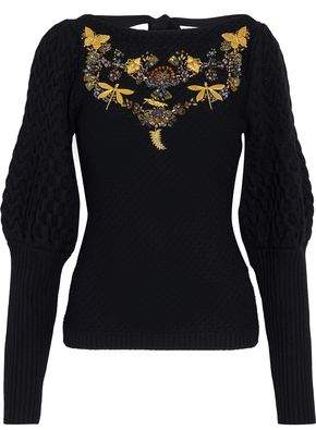Sachin + Babi Amin Embellished Cable-Knit Wool Sweater