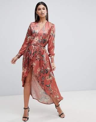 Club L floral long sleeve wrap maxi dress