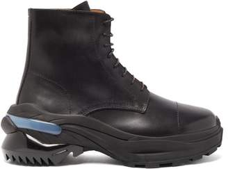 Maison Margiela Retro Fit Leather Combat Boots - Mens - Black