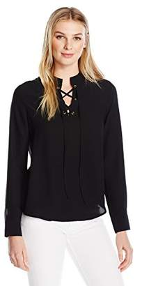 Lark & Ro Women's Long Sleeve with Lace up Front