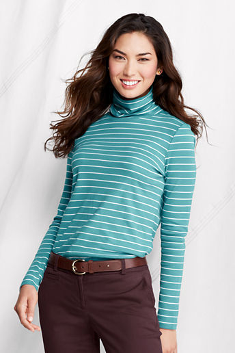 Lands' End Women's Tall Long Sleeve Stripe Shaped Supima Turtleneck