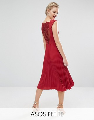 ASOS Petite ASOS PETITE WEDDING Lace and Pleat Back Midi Dress $98 thestylecure.com