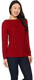 Susan Graver Cotton Acrylic Cable Knit BoatNeck Sweater