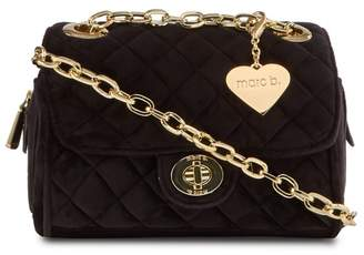 Marc B Black Velvet 'Knightsbridge' Quilted Shoulder Bag