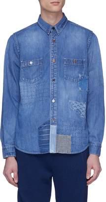 FDMTL Sashiko boro patchwork denim shirt