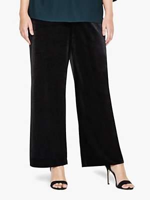 Jaz Wide Leg Velvet Trousers, Black