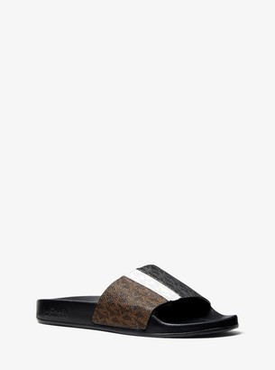 MICHAEL Michael Kors Ayla Color-Block Logo Slide Sandal