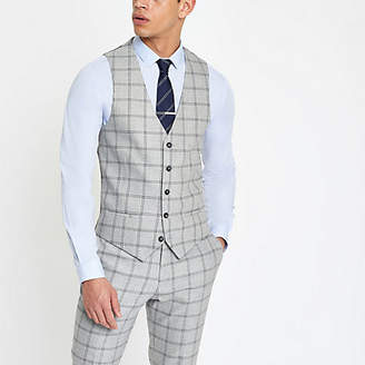 River Island Light grey check smart vest