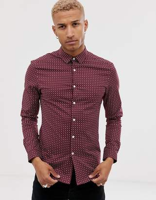 Asos Design DESIGN skinny fit smart shirt with ditsy print in burgundy