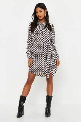boohoo Mono Geo Button Woven Shirt Dress