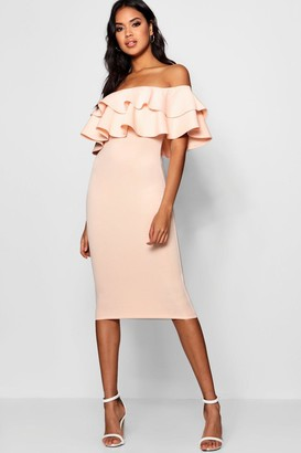 boohoo Bardot Layered Frill Detail Midi Dress