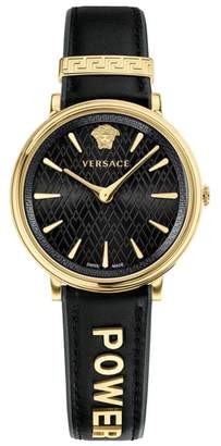 Versace Manifesto Leather Strap Watch, 38mm