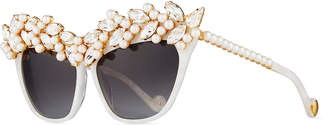 Karlsson Anna Karin Tears of the Moon Cat-Eye Sunglasses, Pearl