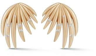 Susan Foster Mini Yellow Gold Palm Stud Earrings