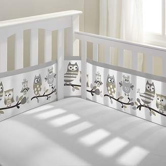 BreathableBaby Breathable Baby Mesh Crib Liner- Owl Fun Gray, 12420